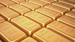 Gold bars close up (sample 999.9) Stock Footage