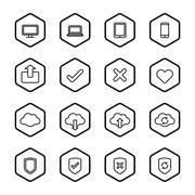 black line web icon set with hexagon frame - stock illustration