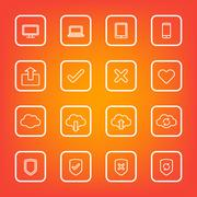 white line web icon set with rounded rectangle frame - stock illustration