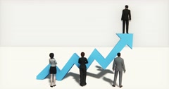 4k business team standing on the top of 3d blue positive trend arrow. Stock Footage