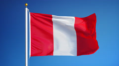 Peru flag in slow motion seamlessly looped with alpha Stock Footage