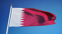 Qatar flag in slow motion seamlessly looped with alpha Stock Footage