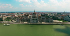 Hungary. Budapest. Parliament building on Pest aerial view camera moving up. - stock footage
