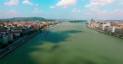 Budapest. Danube river. Buda and Pest aerial view moving forward camera. - stock footage