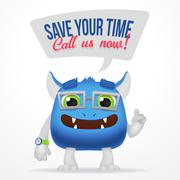 Funny Blue Cartoon alien monster. Save your time, call us now typography. Cute - stock illustration