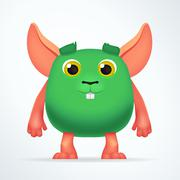 Cute green mouse mutant. Fun Fluffy fat rabbit character isolated on light - stock illustration