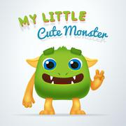 Cute Green alien beast character. My little cute monster typography. Fun Fluffy Stock Illustration