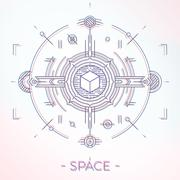 Colorful line geometric futuristic graphic design. Sci-Fi astro space - stock illustration