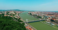 Budapest. Elisabeth Bridge, Buda and Pest aerial view slow moving camera. - stock footage