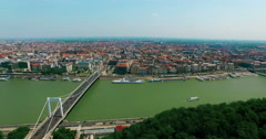 Hungary. Budapest. Elisabeth Bridge and Pest aerial view moving forward camera. - stock footage