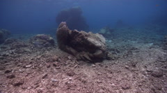 Ocean scenery massive rubble damage after cyclone Yasi, large boulders turned Stock Footage