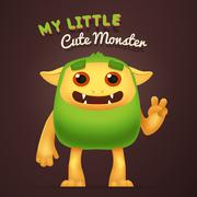 Cute Cartoon Green alien character with My little cute monster typography. Fun Stock Illustration