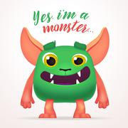 Cute Cartoon Green Creature character with yes i am a monster lettering. Fun Stock Illustration