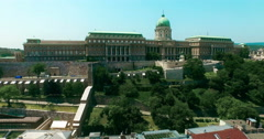 Hungary. Budapest bird eye view. Buda Castle aerial view going up camera. Stock Footage