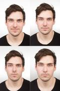 Collage (4 photos), young man, close up, for id/passport photo identification - stock photo