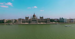 Hungary. Budapest. Parliament building panoramic view on Pest aerial view. - stock footage