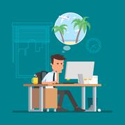 Business man working hard and dreaming about vacation on a beach. Vector - stock illustration