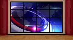 News TV Studio Set 140 - Virtual Green Screen Background Loop Stock Footage