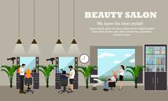 Beauty salon interior vector concept banners. Hair style design studio. Women in Stock Illustration