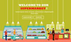 Supermarket interior vector illustration flat style. Customers buy products in - stock illustration