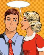 Vector illustration in pop art style. Woman telling secret to man. Retro comic - stock illustration