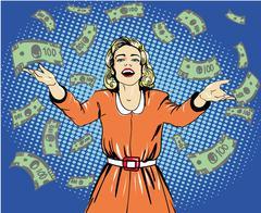 Happy woman throw money. Vector illustration in retro pop art style - stock illustration