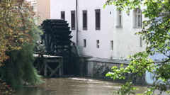 Waterwheel mill in Prague. Czech Republic Stock Footage