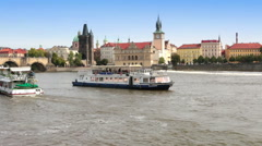 Prague - the old city, Vltava Embankment and Charles Bridge, the Czech Republic - stock footage