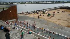 City beach in Reykjavik. Iceland Stock Footage