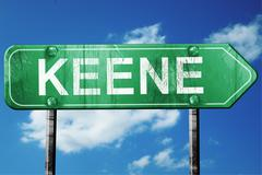 keene road sign , worn and damaged look - stock illustration