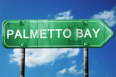 palmetto bay road sign , worn and damaged look - stock illustration