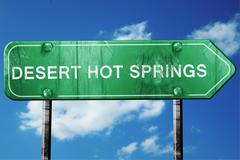 desert hot springs road sign , worn and damaged look - stock illustration