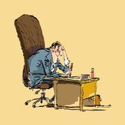 Businessman boss works Stock Illustration