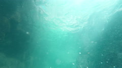 Looking up to water surface scene nature background. Underwater static camera. - stock footage