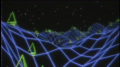 Retro video game VHS tape 3d landscape vector arcade wireframe terrain 4k Stock Footage