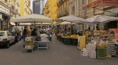 Shoppers Naples Italy street market Stock Footage