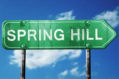 Stock Illustration of spring hill road sign , worn and damaged look