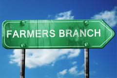 farmers branch road sign , worn and damaged look - stock illustration