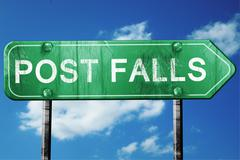 post falls road sign , worn and damaged look - stock illustration