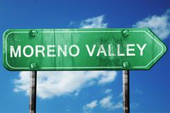 moreno valley road sign , worn and damaged look - stock illustration