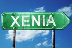 xenia road sign , worn and damaged look - stock illustration