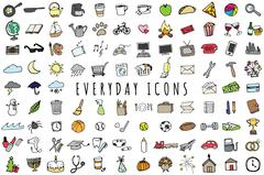 Everyday Objects Icons Set - Sketched Planner and To-Do List Illustrations - stock illustration