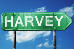 harvey road sign , worn and damaged look - stock illustration