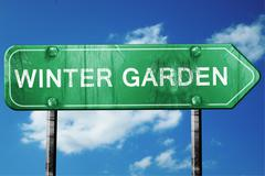 Stock Illustration of winter garden road sign , worn and damaged look