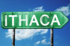 ithaca road sign , worn and damaged look - stock illustration