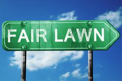 fair lawn road sign , worn and damaged look - stock illustration