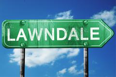 lawndale road sign , worn and damaged look - stock illustration