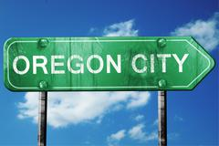 Stock Illustration of oregon city road sign , worn and damaged look