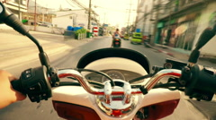 Thailand. Phuket. Timelapse motorbike travel Patong. High Speed bike. - stock footage