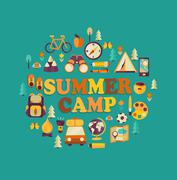 Summer Camp themed. Stock Illustration